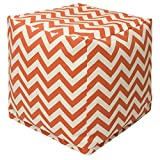 Majestic Home Goods Burnt Orange Chevron Indoor/Outdoor Bean Bag Ottoman Pouf Cube 17'' L x 17'' W x 17'' H
