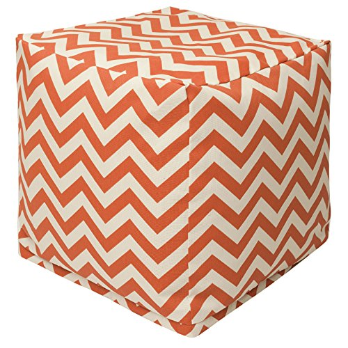 Majestic Home Goods Burnt Orange Chevron Indoor/Outdoor Bean Bag Ottoman Pouf Cube 17