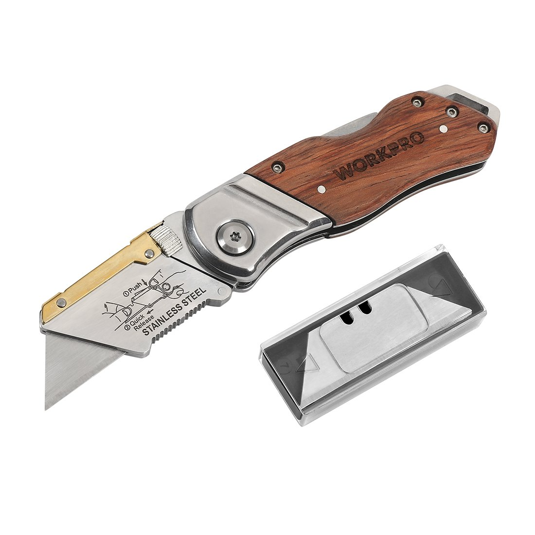 WORKPRO Folding Utility Knife Wood Handle Heavy Duty Cutter with Extra 10-piece Blade