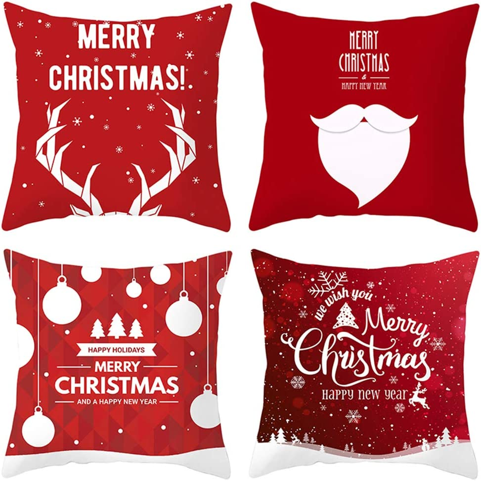 Heyhousenny Christmas Tree Snow Decorations Red Throw Pillow Covers Set of 4 Christmas Winter Decor Cushion Cover 18 X 18