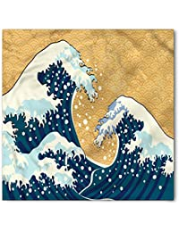 Japanese Wave Bandana by Ambesonne, Sea Storm in Japan Traditional Drawing Foamy Great Waves, Printed Unisex Bandana Head and Neck Tie Scarf Headband, 22 X 22 Inches, Earth Yellow Dark Blue White