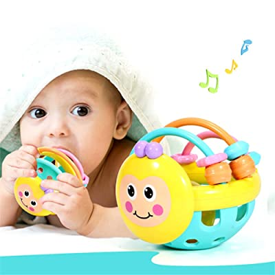 JINGYANHUA Soft Rubber Juguetes Bebe Cartoon Bee Hand Knocking Rattle Dumbbell Early Educational Toy for Kid Hand Bell Baby Toys 0-12 Month: Home & Kitchen