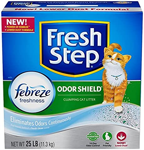 Fresh Step Odor Shield with Febreze Freshness, Clumping Cat Litter, Scented, 25 Pounds - Flush Litter Box