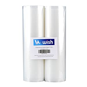 "Food Saver Bags Rolls (2-Pack), WISH 11""X50' Heavy Duty Food-Safe Embossed Vacuum Sealer Bags Compatible with All Vacuum Sealers (Total 100 Feet)"
