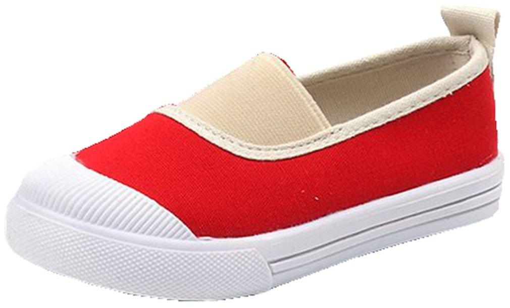 VECJUNIA Kids Canvas Flat Shoes Slip-On Cap-Toe Low Top School Uniform (Red, 10.5 M US Little Kid)