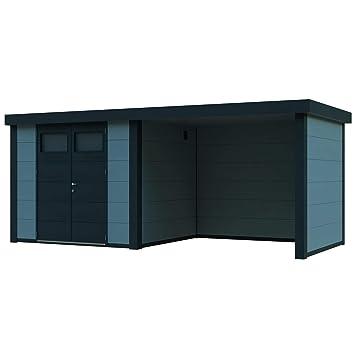 NOVO HABITAT Caseta de Jardin metálica NH7 con Apoyo | Gris Claro | (298 x 238) + (284 x 238): Amazon.es: Jardín