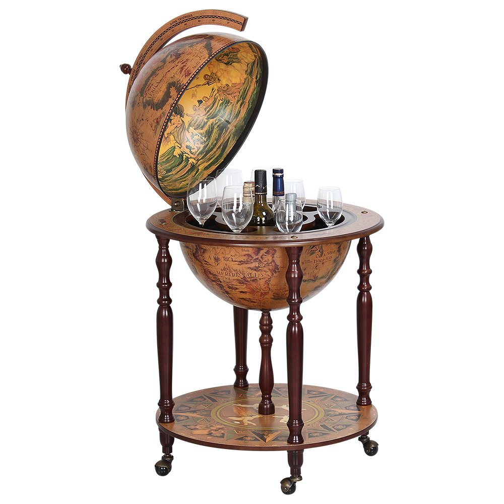 Wood Globe Wine Bar Stand 16th Century Italian Rack Liquor Bottle Shelf Globe Diameter 17.72 MG45003N