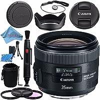 Canon EF 35mm f/2 IS USM Lens 5178B002 + 67mm 3pc Filter Kit + Lens Cleaning Kit + Lens Pouch + Lens Pen Cleaner + 67mm Tulip Lens Hood + Fibercloth Bundle