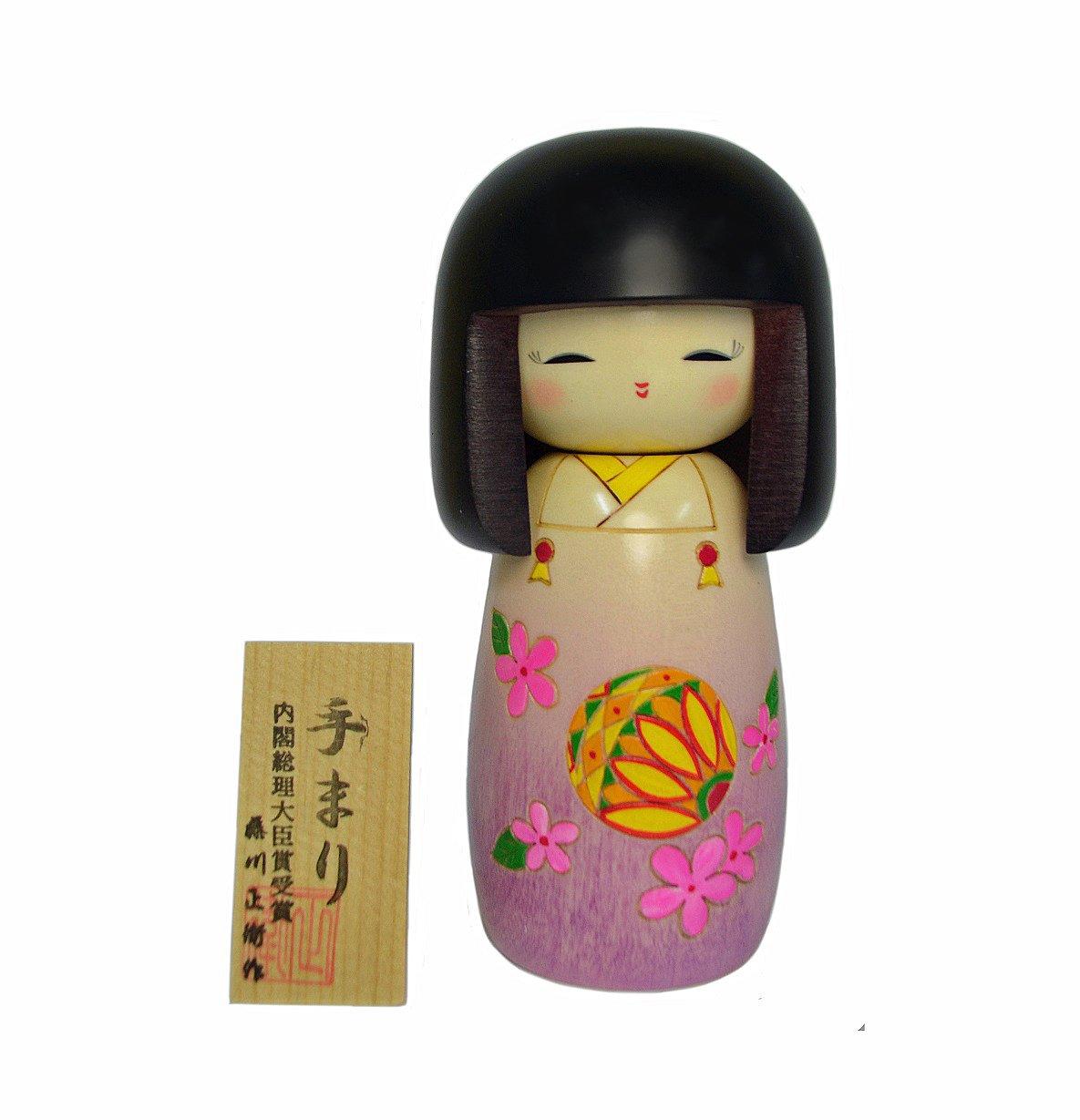 Sosaku Kokeshi Doll Temari Design Kimono Girl 2013-17 Made in Japan