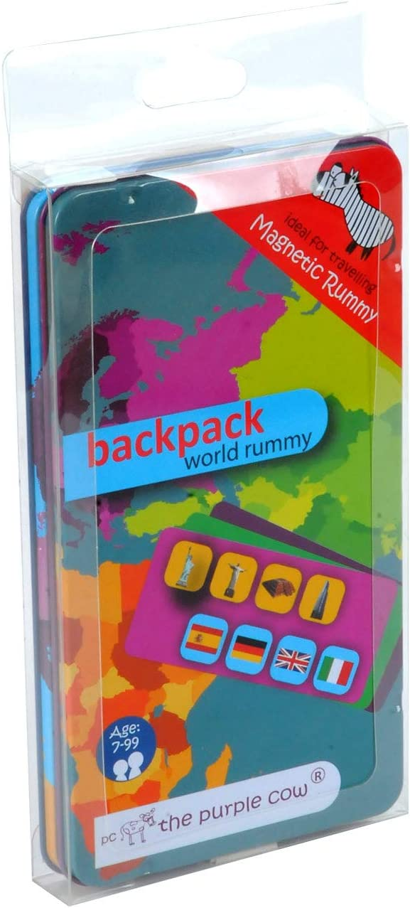The Purple Cow Magnetic to Go Backpack World Rummy Travel Game - Magnet Board Game Set for Both at Home & in The Car & On The Go - for Traveler Kids - 7-Year-Old & Up - Traveling Adults - 50 Mag