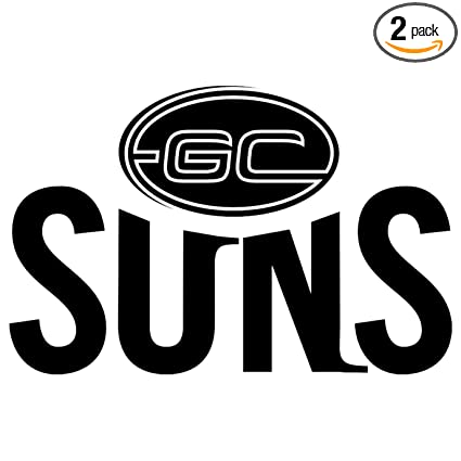 Afl gold coast suns logo icon black set of 2 silhouette