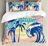 Vintage Hawaii Duvet Cover Set King Size by Lunarable, Surf League Lettering with Wave Tropical Trees and Birds Silhouettes Print, Decorative 3 Piece Bedding Set with 2 Pillow Shams, Multicolor