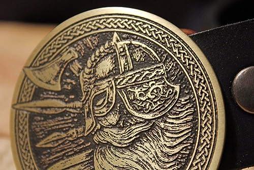 Viking Warrior Belt Buckle NORSE Etched Metal