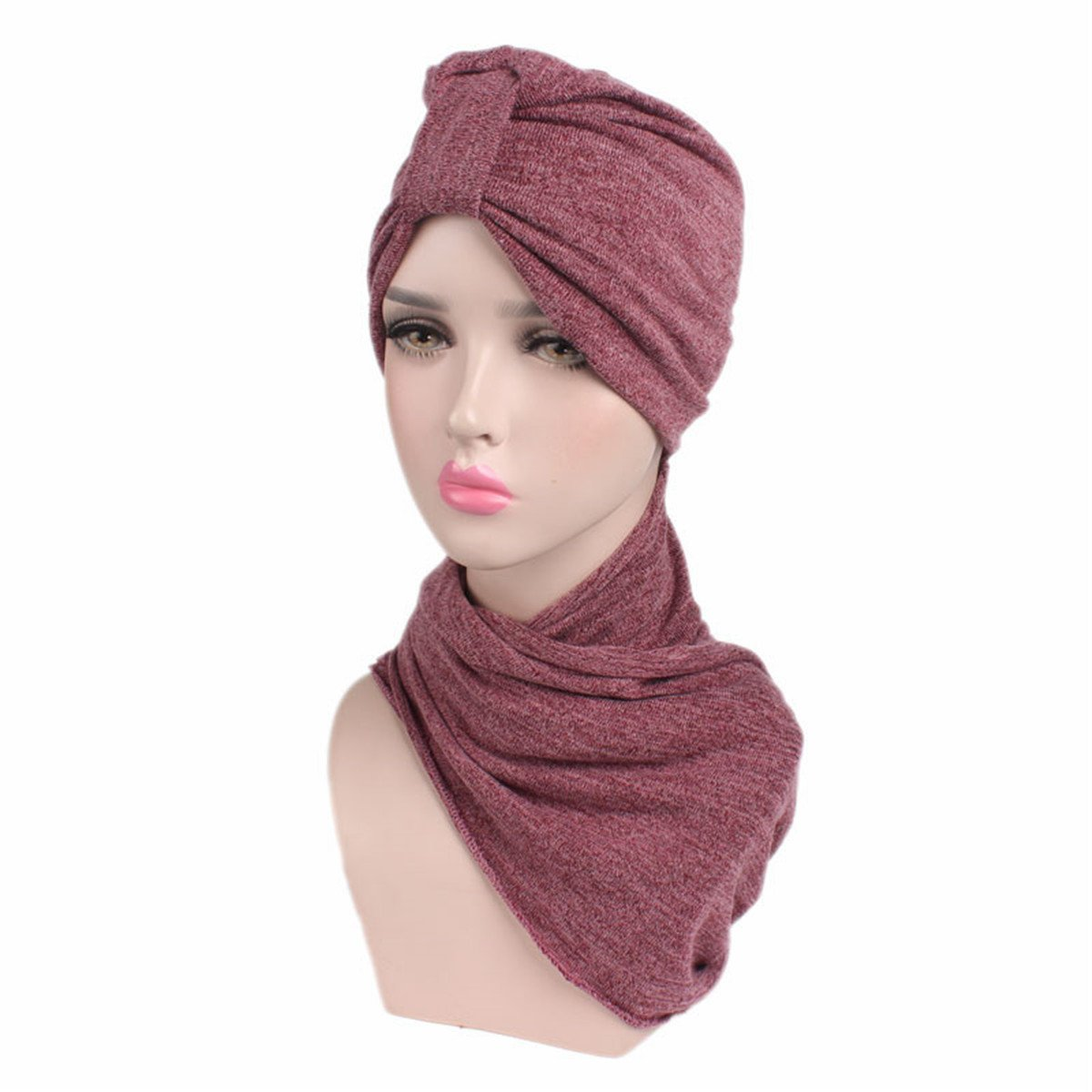 Qhome Women Multi Function Hijab Turban With Scarf Head Wrap Extra Long Cotton Tube Headwrap Scarf Tie at Amazon Womens Clothing store: