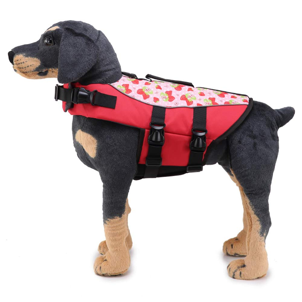 LONG-C Dog's Swimsuit Dog Life Jackets Dog Saver Life Jacket Dog Swimming Vest Adjustable Float Coat for Dogs,Red,L