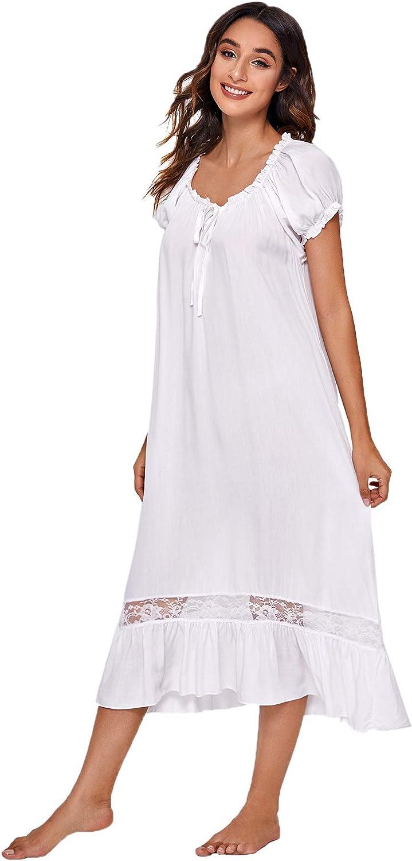 Women Short Nightdress Cotton Long Sleeve Nightwear Sleepshirt Lace Nightshirt