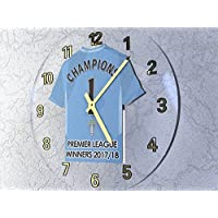 FanPlastic MANCHESTER CITY PREMIER LEAGUE CHAMPIONS 2017/18 - COMMEMORATIVE WALL CLOCK ACRYLIC SHIRT DESIGN !!!