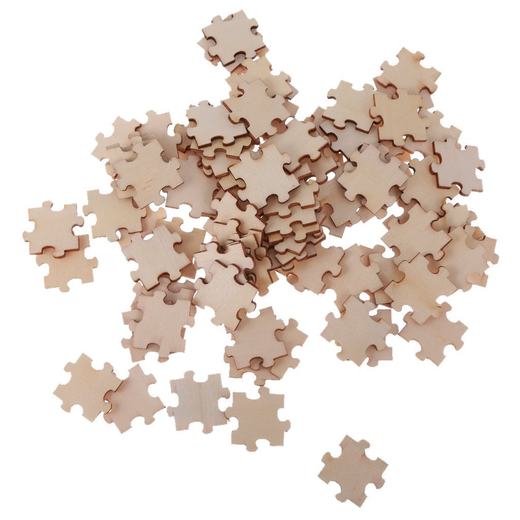Yevison Pack of 100 Wooden Cutout Pieces Puzzle Shape Embellishments for Kids DIY Art Crafts Durable and Useful