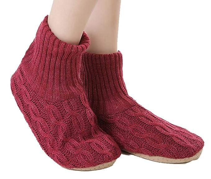 Calcetines de lana de invierno acolchados con terciopelo y calcetines cálidos (rojo)