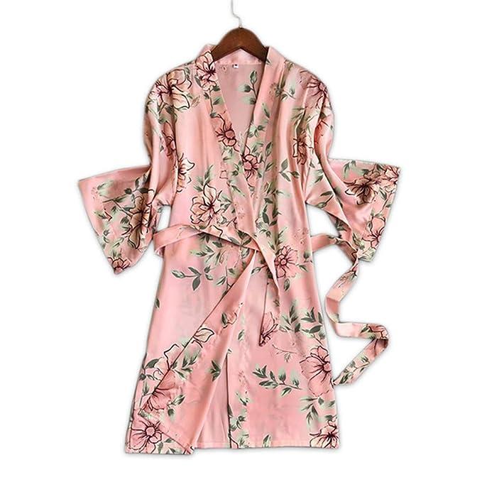 YTFOPLK Satén Floral Fresco Seda Sexy Batas De Baño Mujeres Batas De Kimono Bata De Moda Delicadas Flores De Color Rosa Mujer Túnicas Caseras, L: Amazon.es: ...