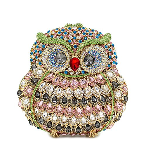 Clutches 1 Rhinestone Party Purse Evening Bags Owl Handbags Luxury Evening Women's Flada xaPpAA
