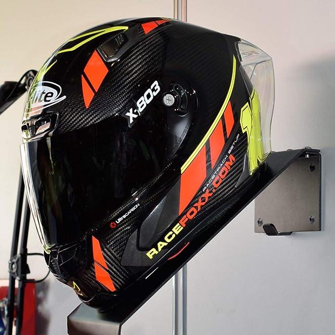 Helm Wandhaken Motorradhelm Helmhaken Aufhänger Helmaufhänger Mit Kleiderhaken Racefoxx Sport Freizeit
