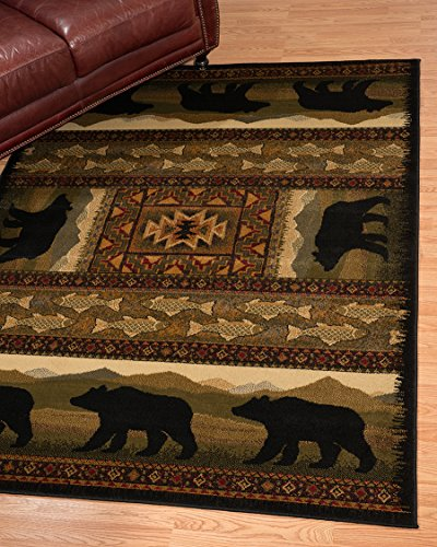 United Weavers of America Affinity Collection Black Bears Rug, 7.10 by 10.6-Feet - Brown