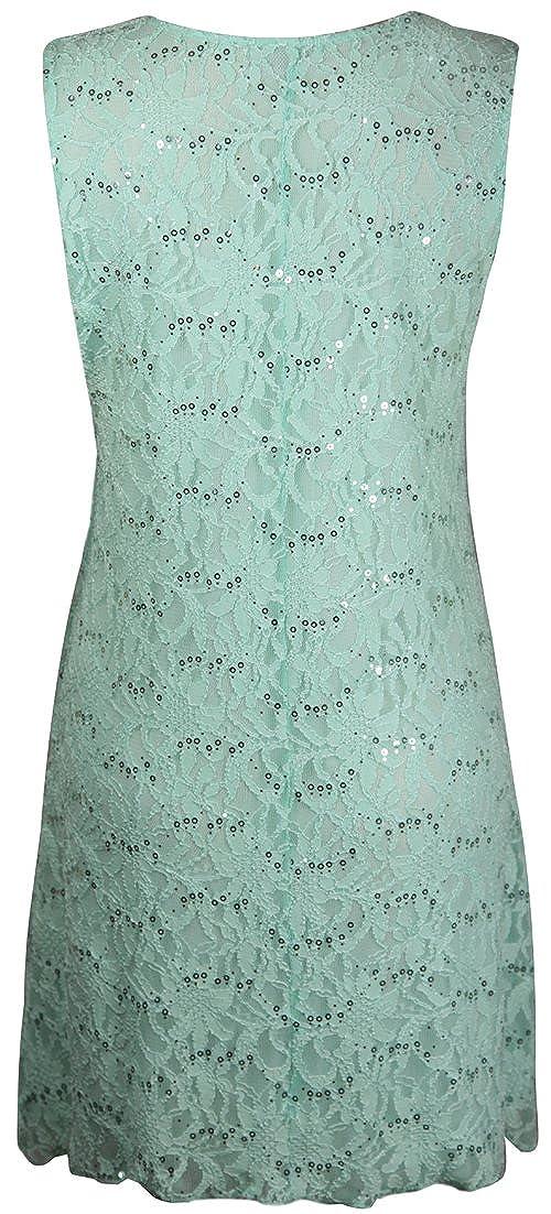 PurpleHanger Womens Plus Size Floral Lace Lined Sequin Dress Purple 8-10