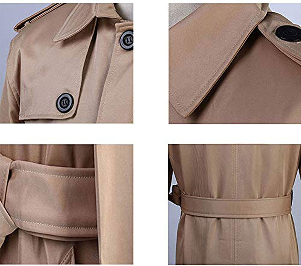 LINGMIN Mens Double Breasted Trench Coat Casual Lapel Long Sleeve Windbreaker Jacket