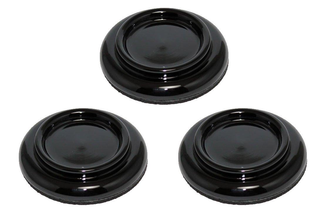 Black High Gloss Grand Piano Caster Cups 3.5'' Pads - Set of 3 - Ebony