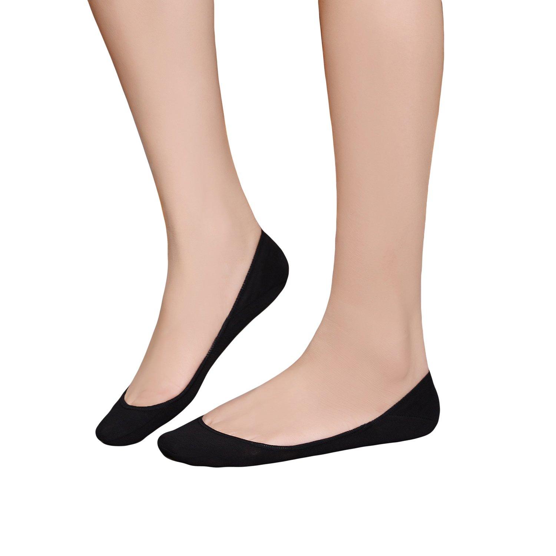 Womens Truly No Show Socks Non-Slip Casual Low Cut Premium Cotton 6 Pack (Black)