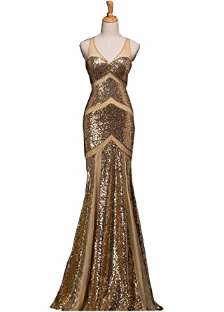 Kiss Rain Womens Long Trumpet Prom Dresses Formal Evening Gowns - Gold -