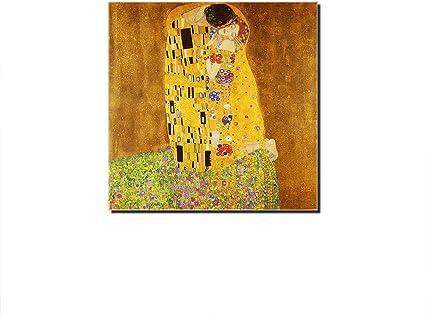Five Seller Quadro Dipinti Famosi Il Bacio Di Gustav Klimt Riproduzioni Artistiche Di Stampe Murali Stampate Su Tela Per Decorazioni Domestiche Nessuna Cornice 30 X 30 Cm Amazon It Casa E Cucina