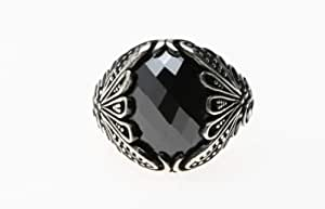 خاتم فضه تركي للرجال مرصع بحجر الزركون ، 1113