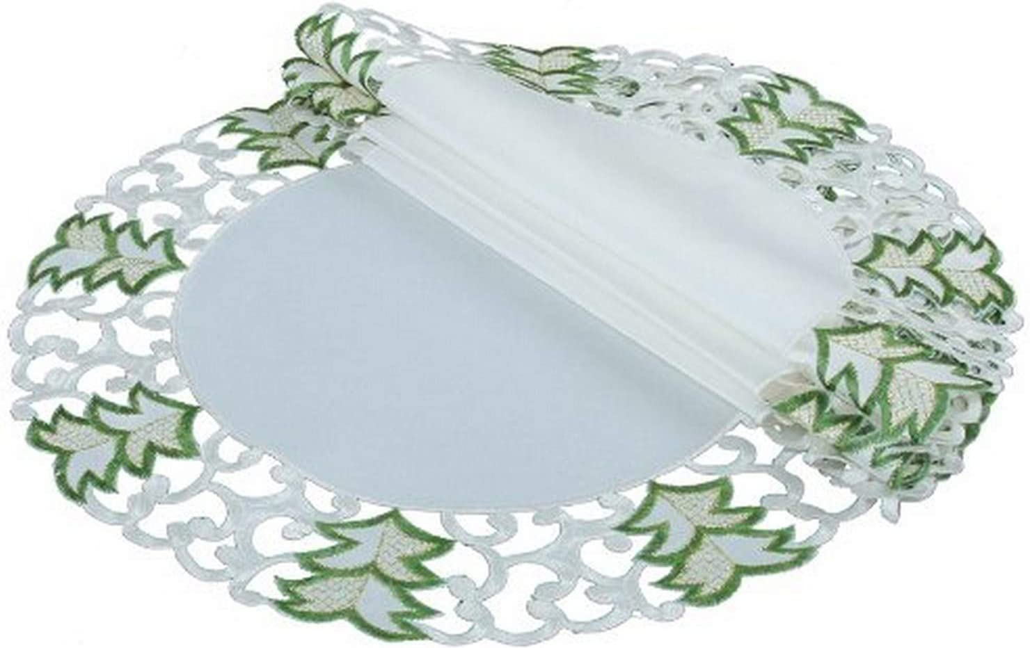 Xia Home Fashions Tannenbaum Embroidered Cutwork Round Christmas Placemats, 16-Inch, Set of 4