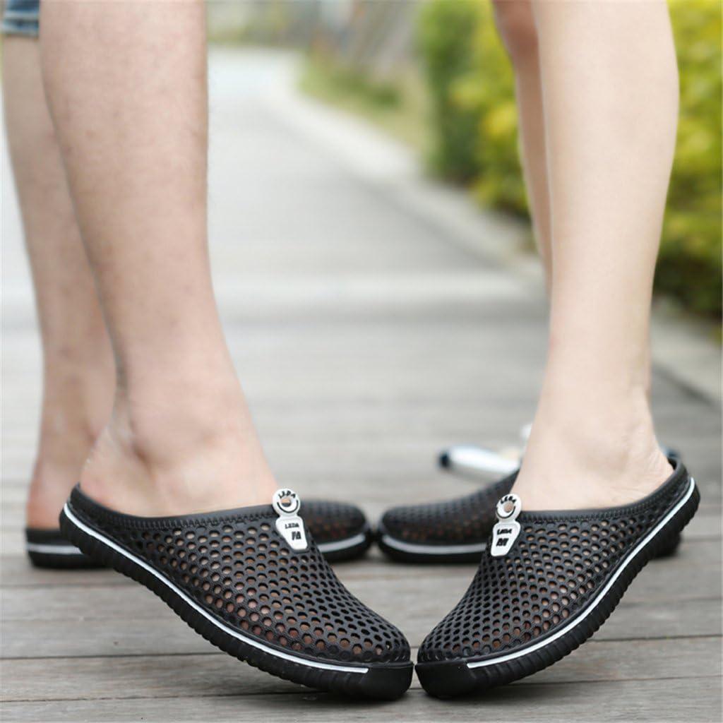 qiansu Hommes Femmes Mesh Mules Sabots Léger Respirant Piscine Chaussons Salle de Bains Pantoufles Printemps-été Chaussures Noir