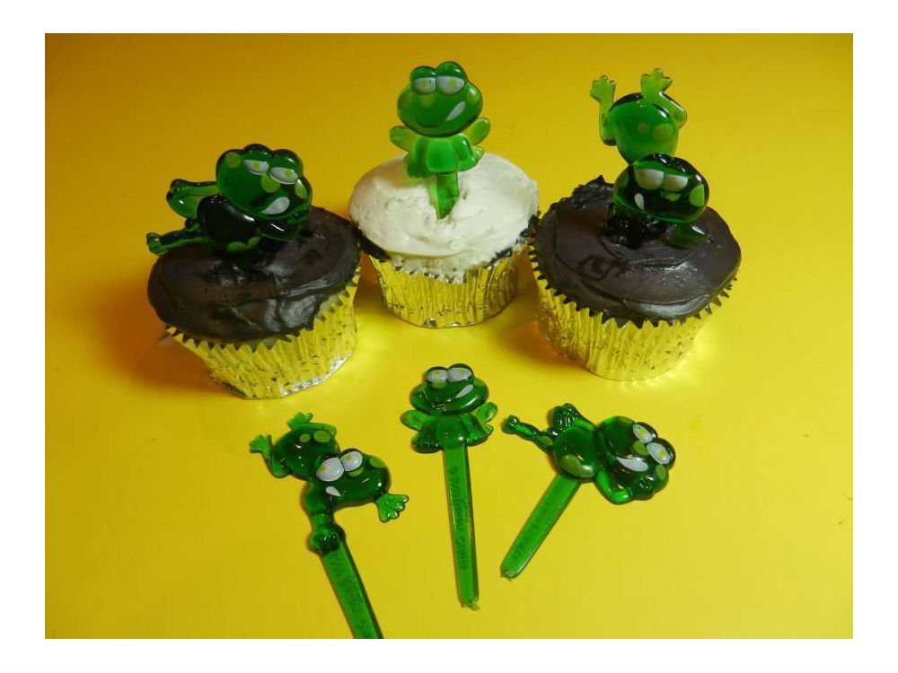 12 Cute Green Frogs Puffy Cupcake Picks Cake Candy Cookie Cake Pop Decorations by Unbranded