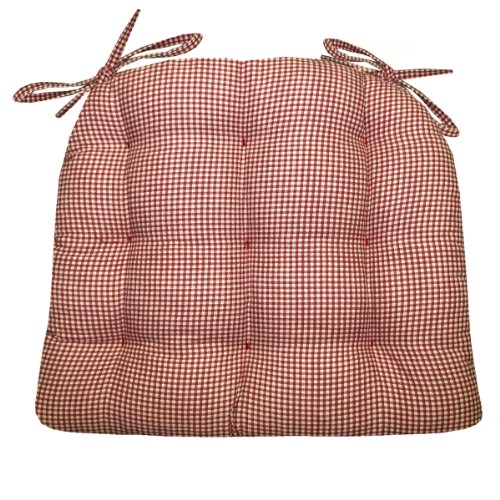 Dining Chair Pad With Ties   Madrid Gingham Check   Reversible, Tufted Seat  Cushion, Latex Foam Fill   MADE IN USA   Traditional, Country (Red,  Standard)