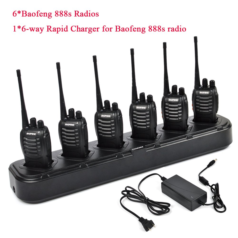 6 packs of Baofeng 888s Two Way Radio UHF 400-470MHZ Walkie Talkie Portable Ham Radio with 1 pcs 6-way Multi Unit Battery Charger for Baofeng- 888S BF-777S BF-666S Retevis H-777 by TWAYRDIO (Image #2)