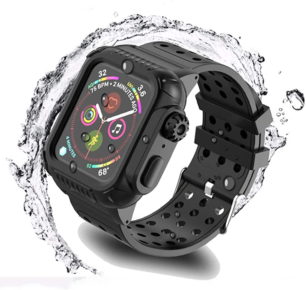 Waterproof Case for iWatch 42mm with Premium Soft Silicone Band, Built-in Screen Protector Full Body Case, Anti-Scratch, Shockproof, for Watch