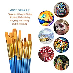 Acrylic Paint Brush Set, 5 packs/50 pcs Nylon Hair Brushes for All Purpose Oil Watercolor Painting Artist Professional Kits