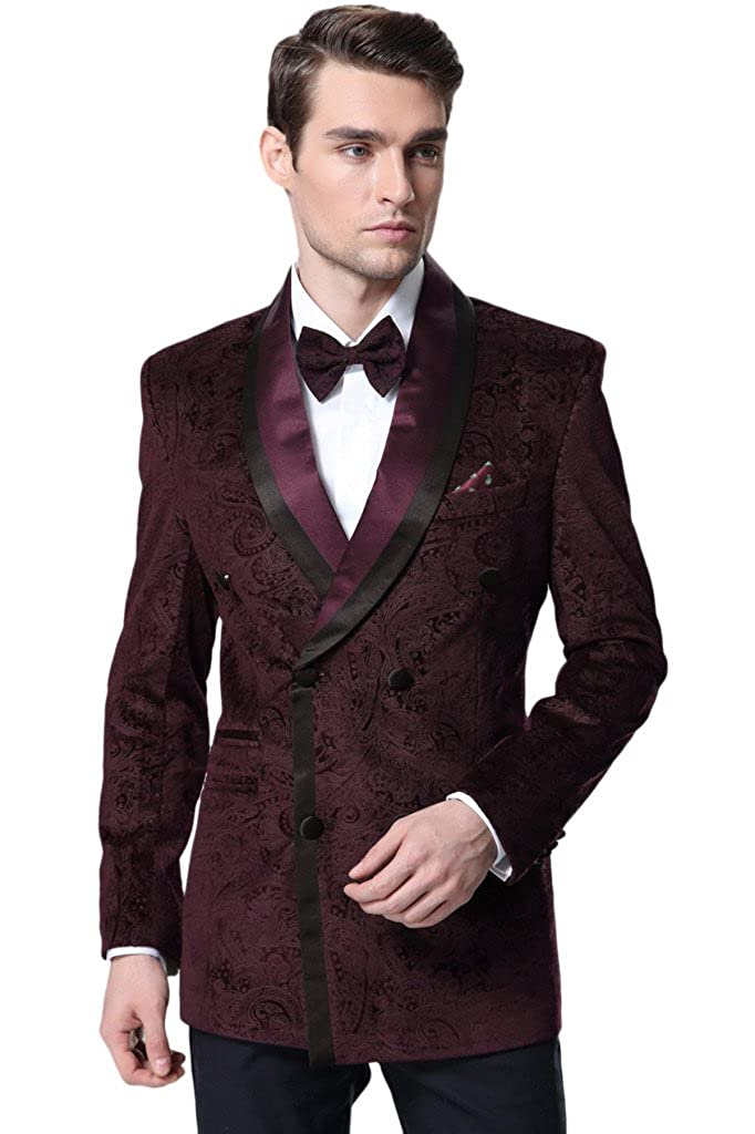 Hanayome Men's 2 Pieces Fashion Double Breasted Tuxedo Blazer Suits Pants D367 D367A01