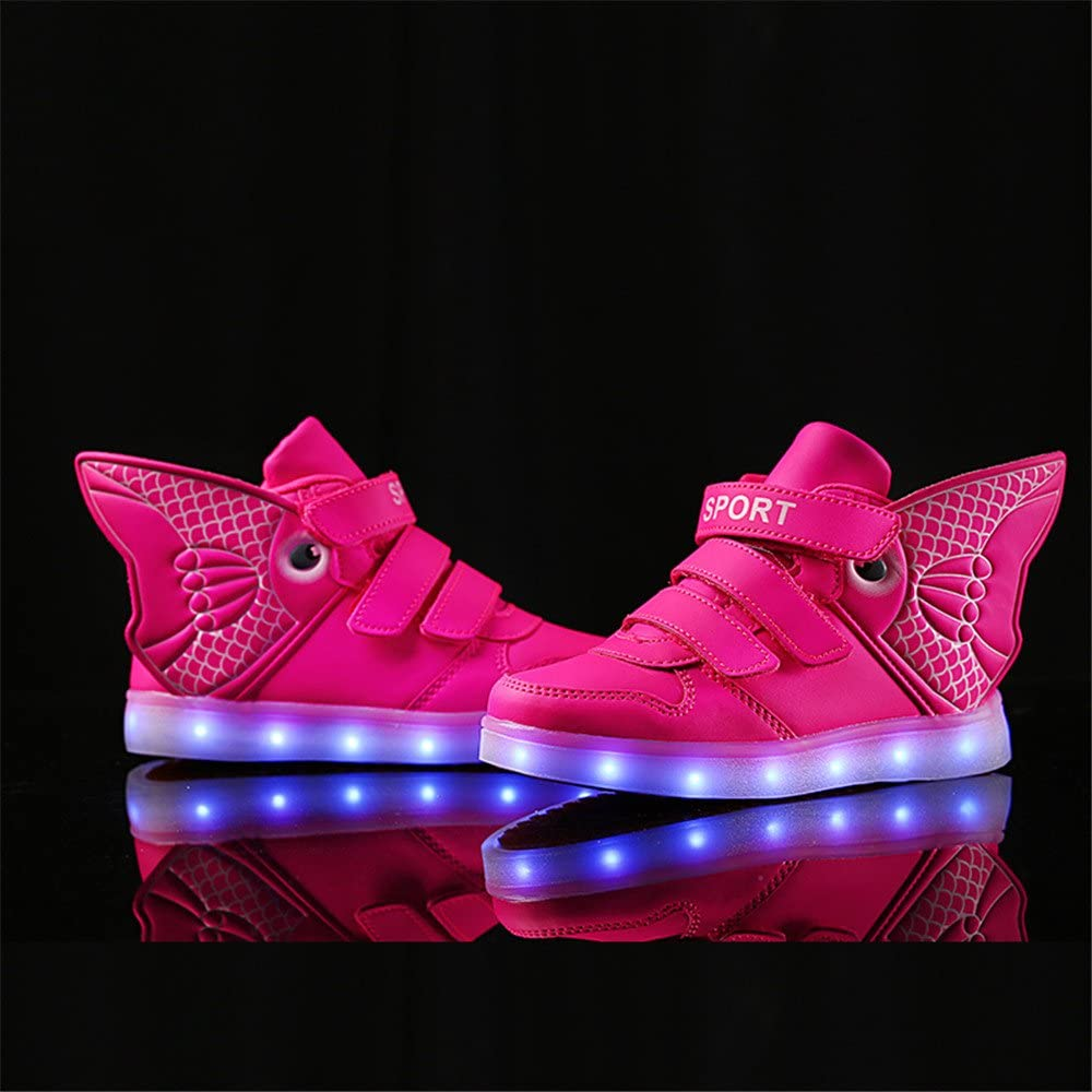 edv0d2v266 Kids LED Light Up Shoes Flashing Trainers High-top Wings Charging Sneakers Halloween