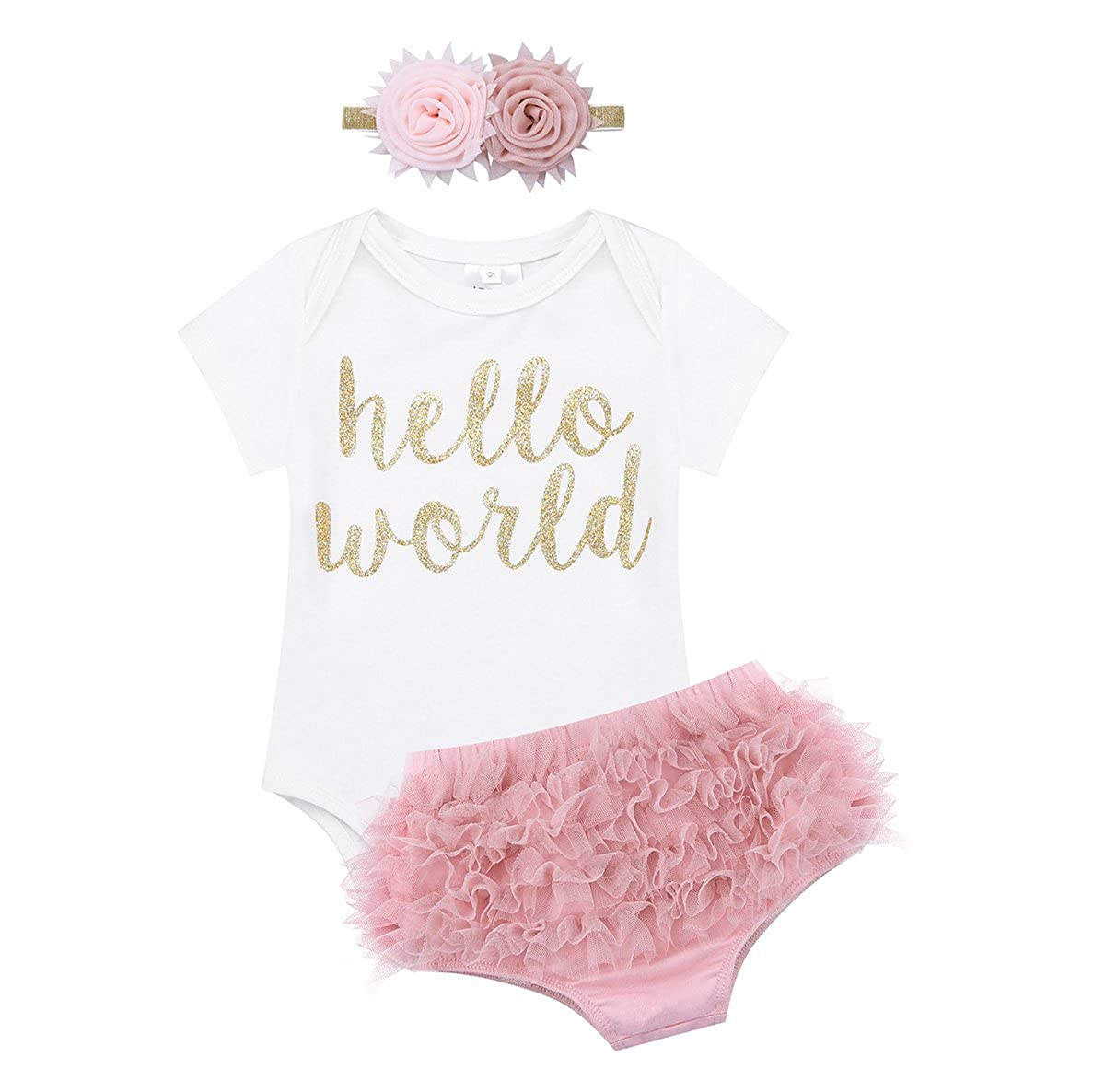 iEFiEL Newborn Baby Girls Hello World Outfit Short Sleeves Romper Bodysuit with Ruffle Tutu Shorts Bloomers Headband Set