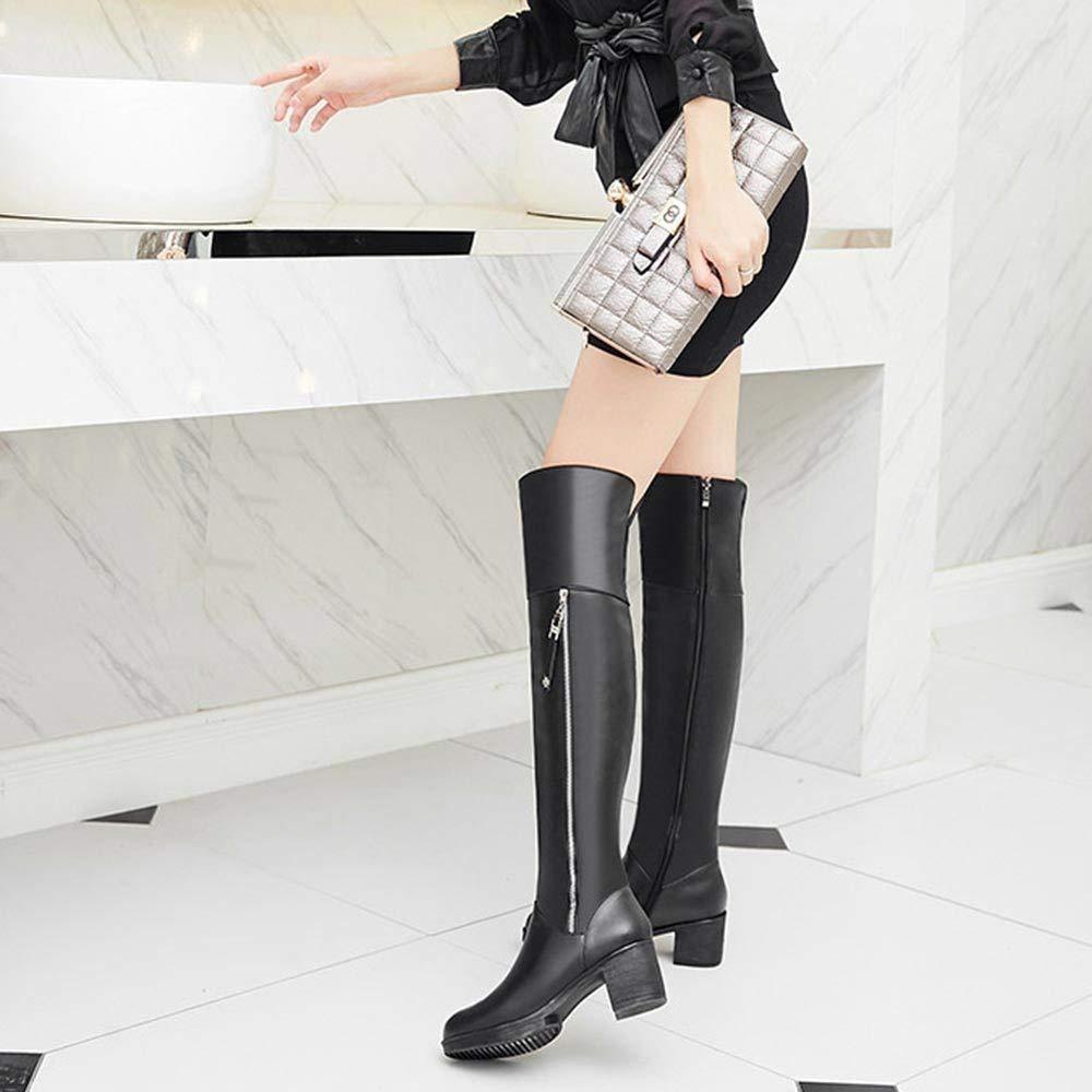GBRALX damen Anti-Rutsch-Stiefel Aus Echtem Leder Runde Zehe Seitlicher Seitlicher Seitlicher Reißverschluss Hohe Stiefel über Das Knie Mittlerer Ferse Lässige Stretch-Stiefel 35fc0a