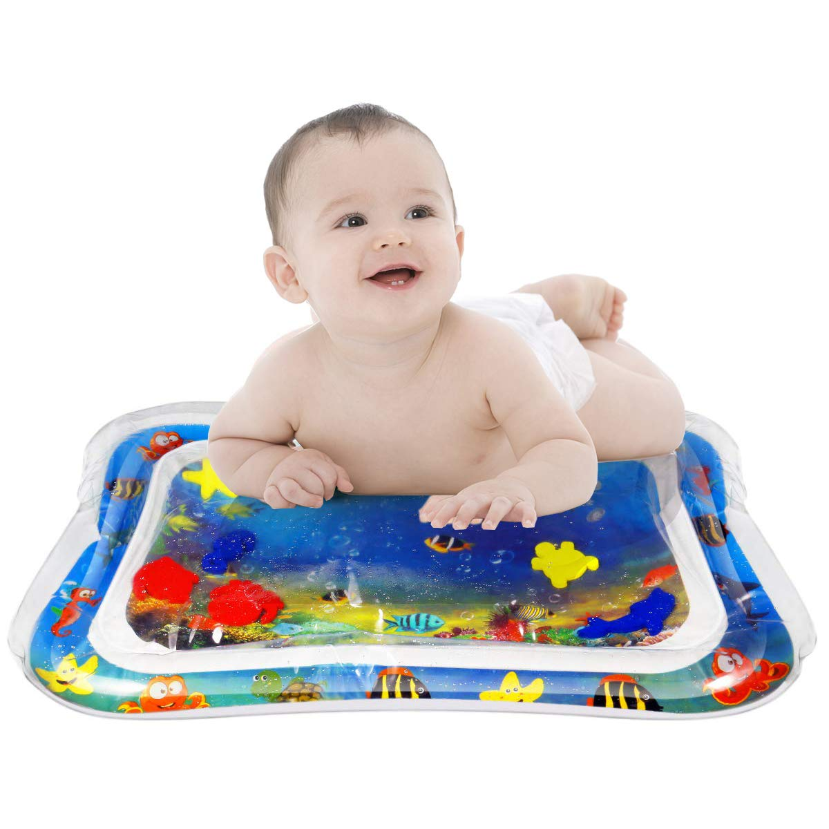 Jishy Inflatable Tummy Time Mat Baby Premium Water Mat Play Mat for Infant and Toddlers,Fun and Perfect Activity Center(26 X 20 inches)