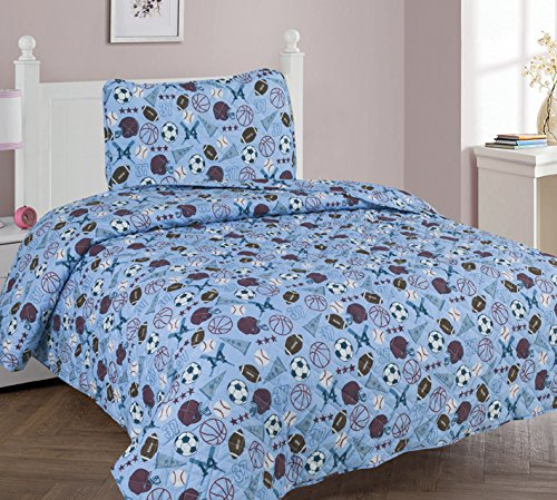 Elegant Home Blue White Brown Sports Basketball Football Baseball Soccer Design 2 Piece Coverlet Bedspread Quilt for Kids Teens Boys Twin Size # MVP (Twin) - Mvp Comforter