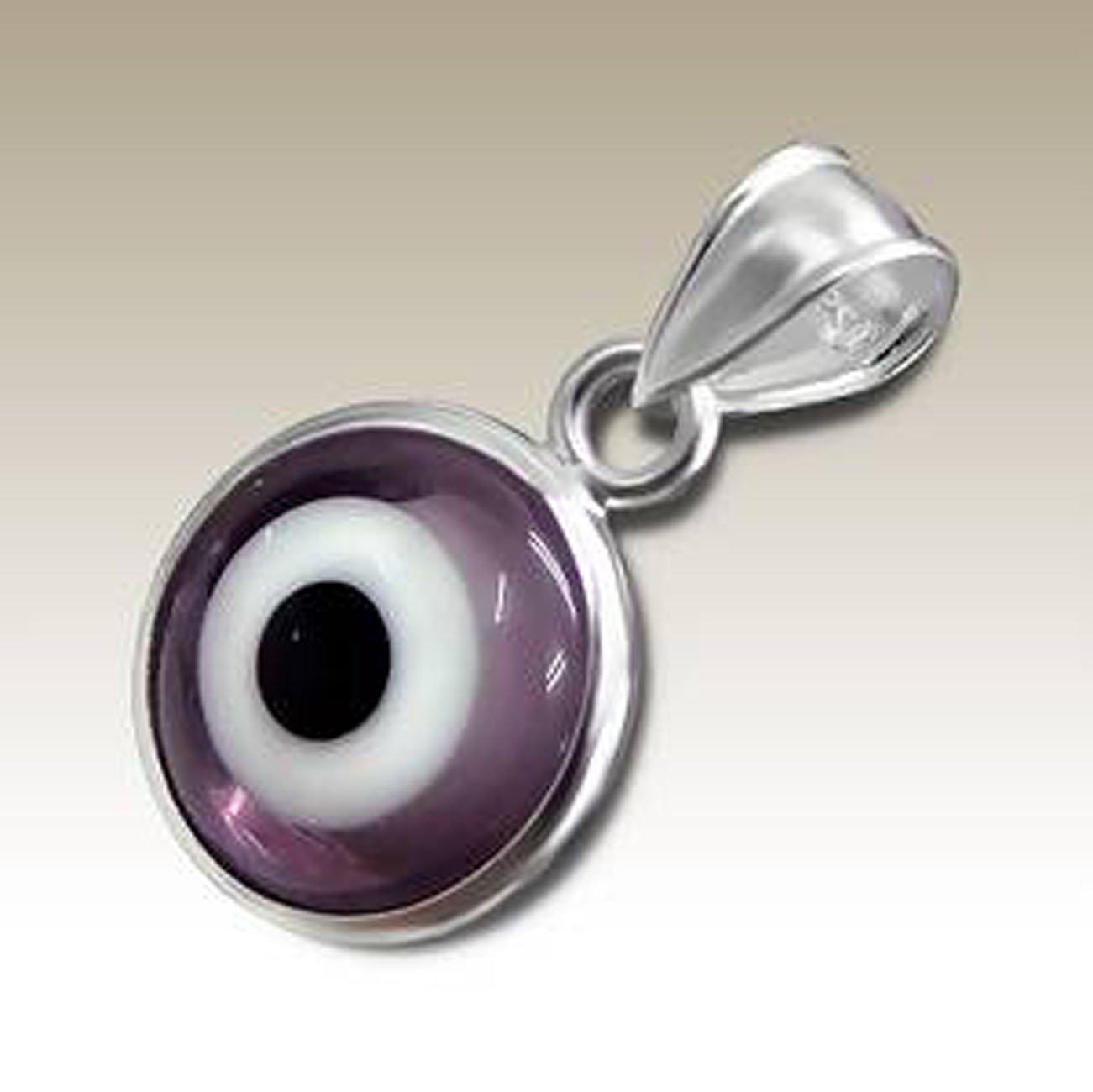Evil Eye Pendant Purple Sterling Silver 925 (E12107)