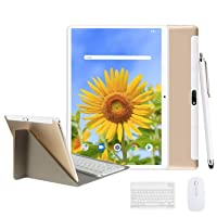 Tablet 10.1 Inch Android 9.0, 2 in1Tablet PC with Wireless Keyboard Mouse& Tablets Case, 4GB RAM +64GB ROM/128GB Computer Tablets, 8MP Quad Core/Dual Sim/8000 mAh,Support 3G/4G Phone Call (Gold)