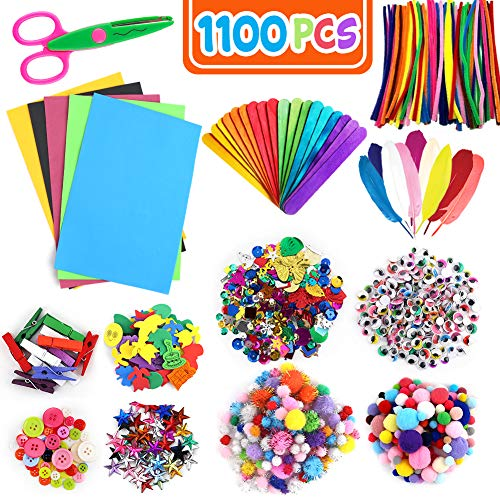 Koogel 1100 pcs Pom Poms Arts and Crafts,13 Kinds Kids Craft Supplies Craft Bucket for Kids DIY Art Craft Kit for Kids of Arts and Crafts in Parent Child Activity Classroom